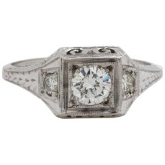 Vintage Belais Engagement Ring 18 Karat White Gold 0.37 Carat H-VS2, circa 1930s
