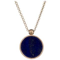 Ouroboros Diamond and Lapis Lazuli and Gold Sun Pendant Necklace