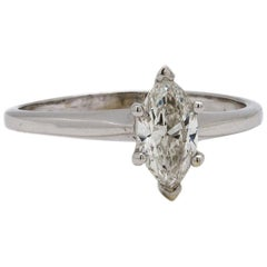 Vintage Solitaire Engagement Ring 18K WG 0.58ct Marquise I SI-1 circa 1960s