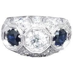 "Diamond and Sapphire ""Art Deco"" Ring"