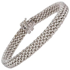 14 Karat White Gold Braided Ladies Bracelet