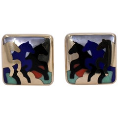 Asch Grossbardt Galloping Horses Stone Inlay Gold Earrings