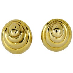 David Webb Tiered Gold Eliptical Earrings