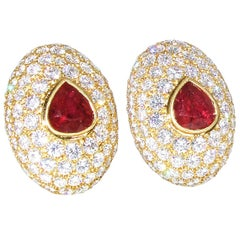 Ruby and Diamond Earrings by Hennell.