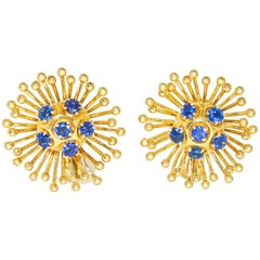 Cartier Retro Style Gold and Sapphire Earrings, circa 1950