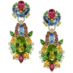 11.53 Carat Peridot with Diamond, Emerald, Tourmaline Starbust Earrings
