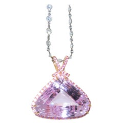 Kunzite and Pink Sapphire and Diamond Pendant-Necklace