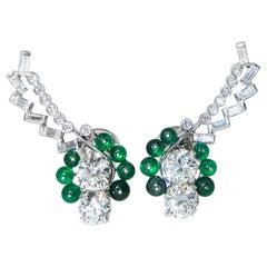 Art Deco Diamond and Emerald Earrings, circa 1935