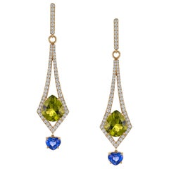 8.57 Carat Peridot and 2.26 Carat Blue Sapphire and Diamond Earrings