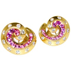 Van Cleef & Arpels Retro Style Diamond and Pink Sapphire Earrings, circa 1950