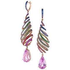 29.46 Carat Kunzite Rainbow Spiral Earrings with Colored Sapphires