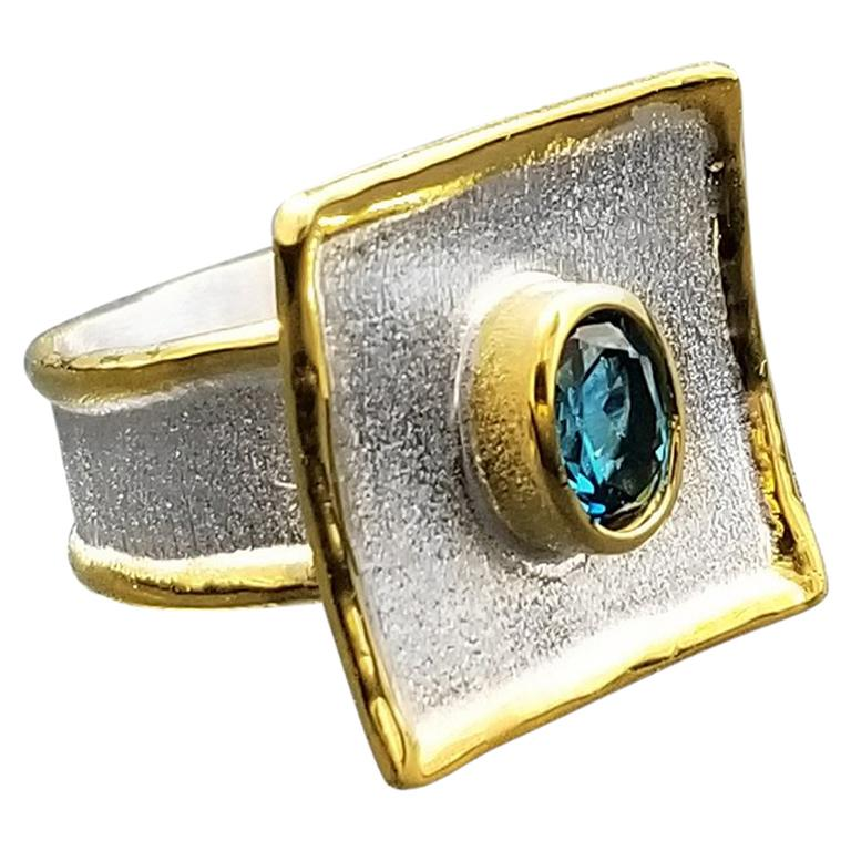 Yianni Creations Blue Topaz Fine Silver 24 Karat Gold Two Tone Ring