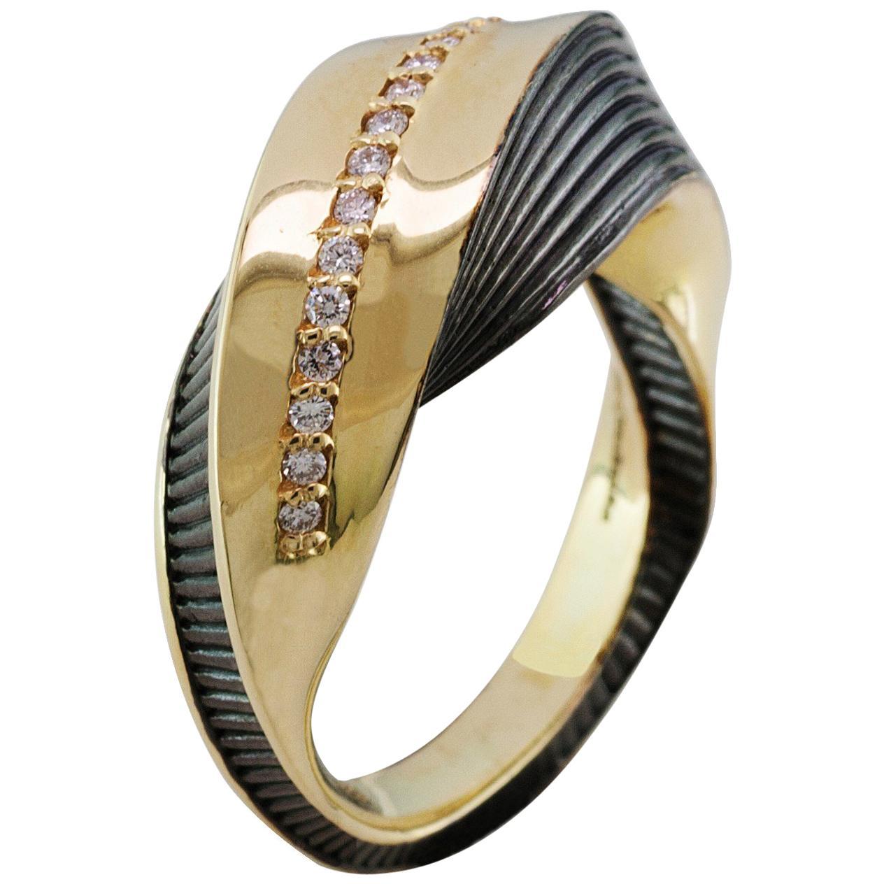 Georgios Collections 18 Karat Yellow Gold Diamond Ring with Black Rhodium