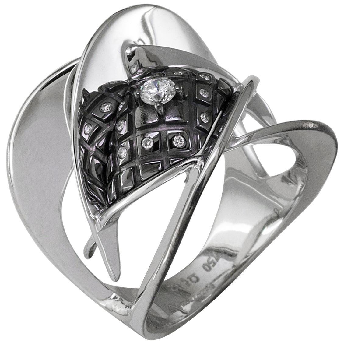 Georgios Collections 18 Karat White Gold Diamond Ring with Black Rhodium