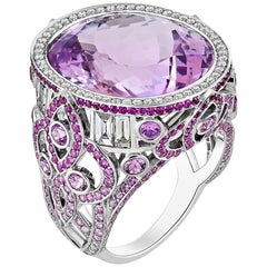 20.40 Carat Kunzite with Pink Fancy Sapphires and Diamond Fading Ring