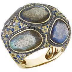 16.54 Carat Labradorite Ring with Black Diamond and Blue Green Sapphires