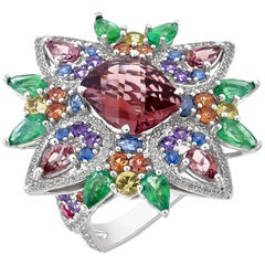 3.5 Carat Pink Tourmaline Fireworks Ring with Emeralds, Sapphires, and Diamond
