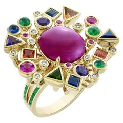 8.3 Carat Ruby Cabochon Cosmic Ring with Emerald Band