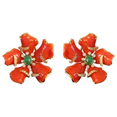 Floral Italian Coral, Emerald 18 Karat Yellow Gold Stud Earrings
