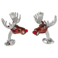 Deakin & Francis Sterling Silver Christmas Moose Cufflinks with Red Noses