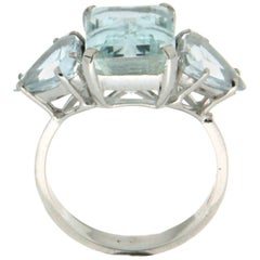 Brazilian Aquamarine 18 Karat White Gold Cocktail Ring