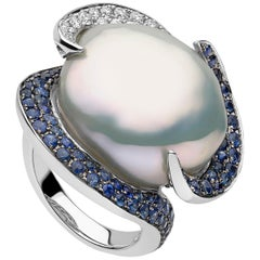 Yoko London South Sea Baroque Pearl, Diamond and Sapphire Ring in 18 Karat Gold