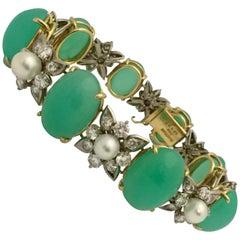 18 Karat Gold Chrysoprase Diamond-Pearl Bracelet, René Kern, circa 1970
