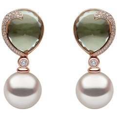 Yoko London South Sea Pearl, Diamond & Green Amethyst Earrings, in 18K Rose Gold