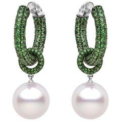 Yoko London South Sea Pearl and Tsavorite Garnet Earrings, Set in 18 Karat Gold