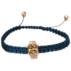 2.92 Carat Radiant Fancy Light Yellow Moissanite Diamond 18 kt Macrame Bracelet