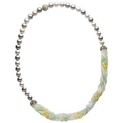 Yoko London Tahitian Pearl Multi-Stone Necklace in 18 Karat Black Gold