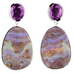 Sterling Silver Boulder Australian Opal and Amethyst Drop Earrings