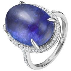 Fei Liu White Gold Tanzanite Ring with Diamonds
