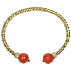 Coral and Diamond 18 Karat Gold Bracelet