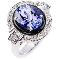 Nikos Koulis 18 Karat Weißgold Tansanit, weißer Diamant, schwarz emailliert Ring