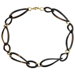 Fei Liu Black Onyx Chain Necklace with Yellow Gold-Plated