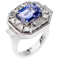 Nikos Koulis 18 Karat White Gold Tanzanite Trillion White Diamond Cocktail Ring