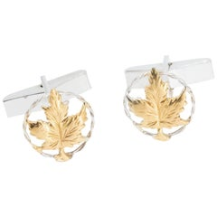 Maple Leaf Cufflinks in 18 Karat Gold on Sterling Silver
