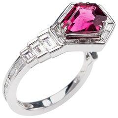 Nikos Koulis 18 Karat White Gold Rubellite White Diamond Cocktail Ring
