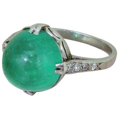 Art Deco 5.69 Carat Colombian Cabochon Emerald Platinum Ring
