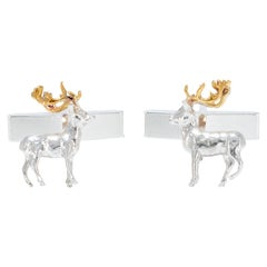Stag Cufflinks in 18 Karat Gold on Sterling Silver