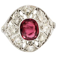 Ruby and Diamond Cocktail Ring, circa 1920s