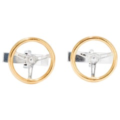 Vintage Steering Wheels Cufflinks in 18 Karat Gold on Sterling Silver