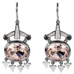 Nikos Koulis 18 Karat White Gold Morganite White Diamonds Black Onyx Earrings