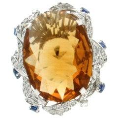 Topaz 18 Karat White Gold, Sapphire and Diamonds, Cocktail Ring