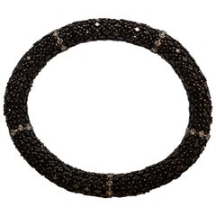 22 Carat Black Diamond White Gold Flexible Bracelet
