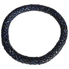 Blue Sapphire White Gold Flexible Bracelet