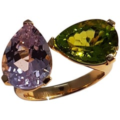 Peridot Kunzite Rose Gold Ring