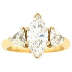 2.85 Karat Marquise Diamonds, 18 Karat Yellow Gold Wedding Ring