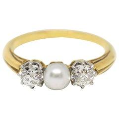 Antique Three-Stone Pearl and Diamond Ring, circa 1910